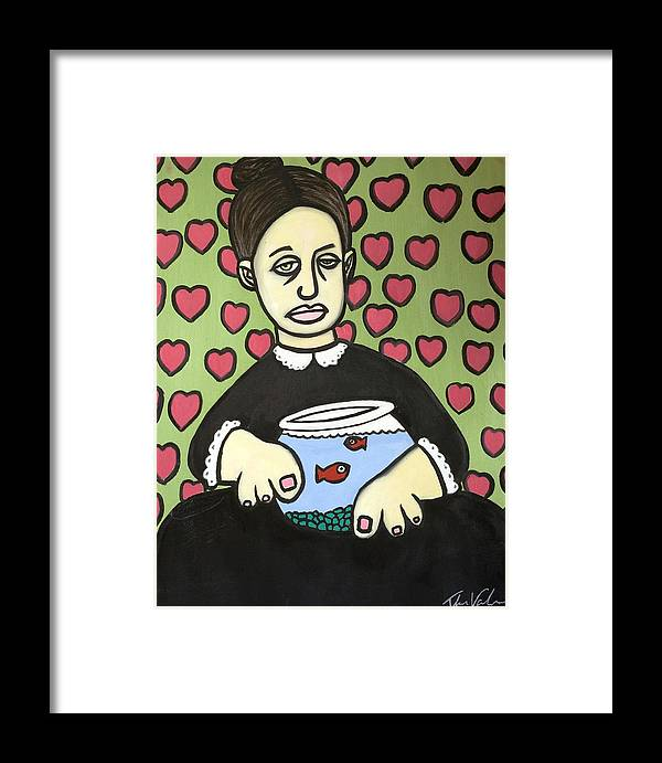 Framed Print featuring the painting Lady With Fish Bowl by Thomas Valentine