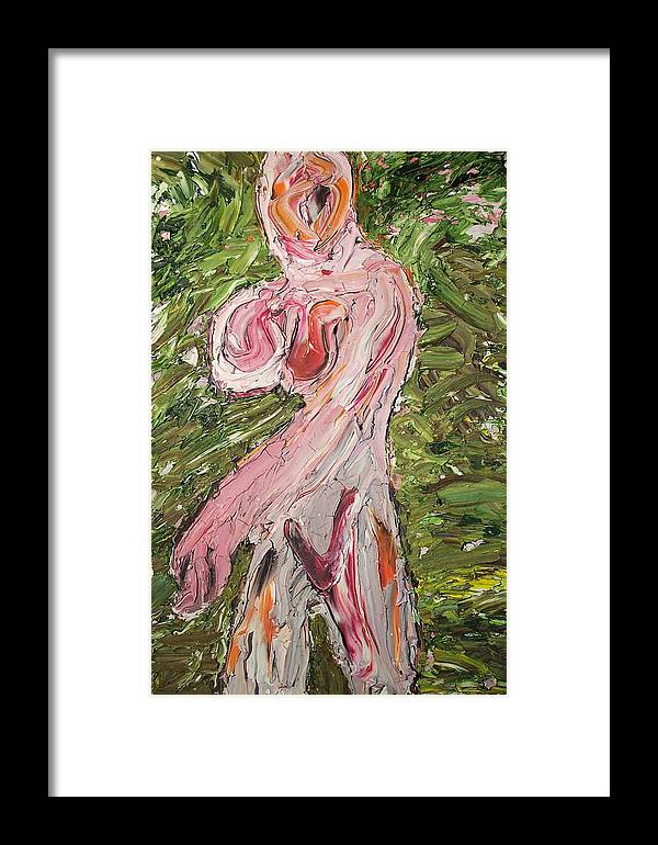 Nude Abstract Framed Print featuring the painting Lady08 by Ira Stark