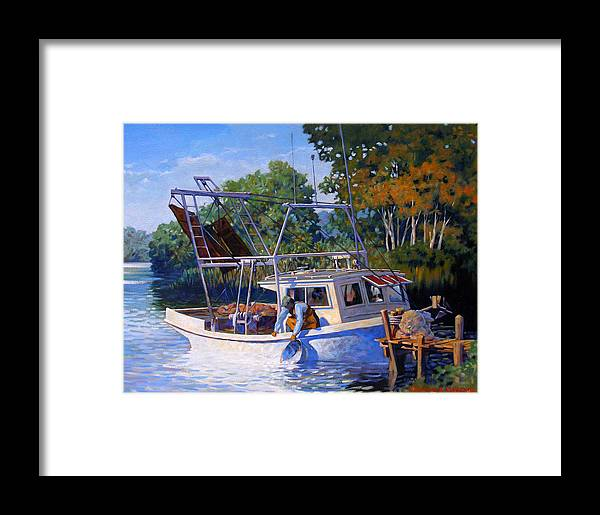 River Framed Print featuring the painting Lafitte Skiff by Kevin Lawrence Leveque
