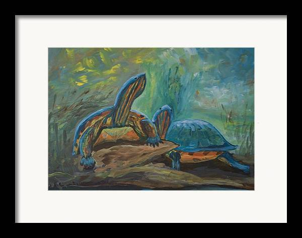 Turtles Framed Print featuring the painting Lagoon Turtles by Anita Wann