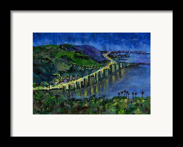 Laguna Framed Print featuring the painting Laguna Shores At Night by Randy Sprout
