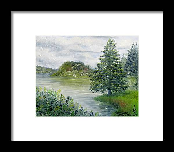 Lake Alice Framed Print featuring the painting Lake Alice by Larry Whitler