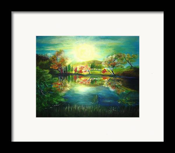 Landscape Framed Print featuring the painting Lake At Dawn by Vivian Mosley