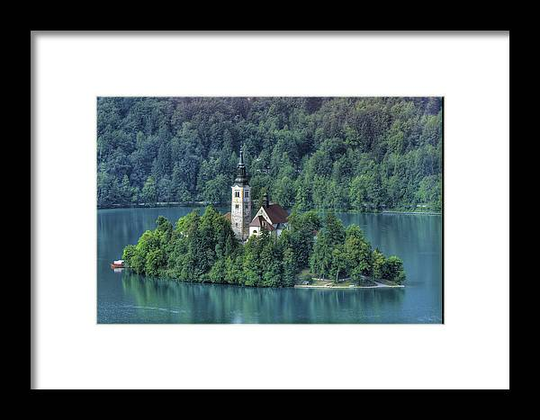 Slovenia Framed Print featuring the photograph Lake Bled Island by Don Wolf