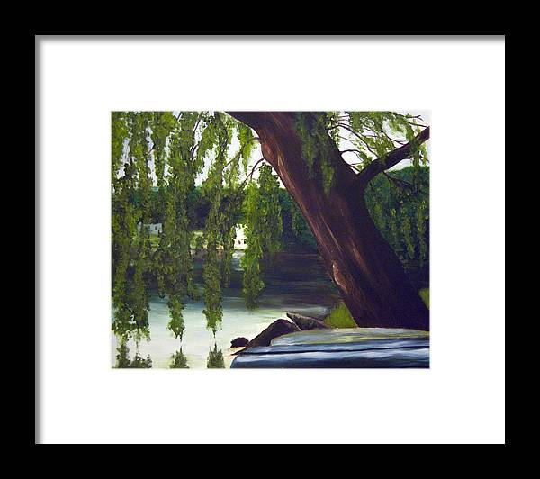 Willow Framed Print featuring the painting Lake Carmel Landscape by Coralyn Klubnick Simone
