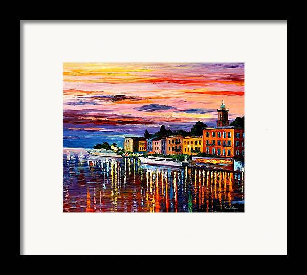 Cityscape Framed Print featuring the painting Lake Como - Bellagio by Leonid Afremov
