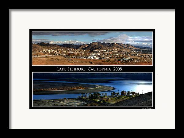 Landscape Framed Print featuring the photograph Lake Elsinore 180 Degrees by Richard Gordon