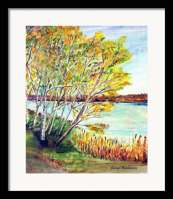 Lake And Trees Landscape Framed Print featuring the print Lake Geneva by George Markiewicz