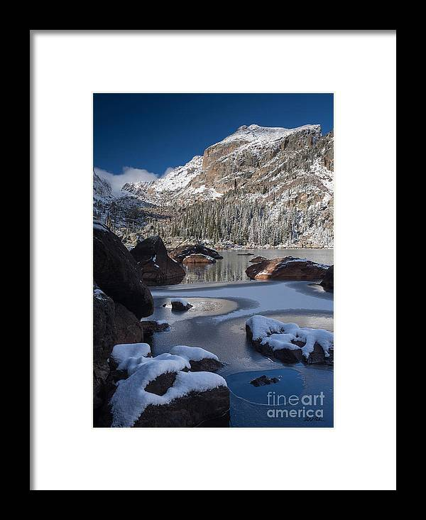 Lake Haiyaha Colorado Rocky Mountain National Park Winter Landscape Frozen Lake Framed Print featuring the photograph Lake Haiyaha by Carl Paulson