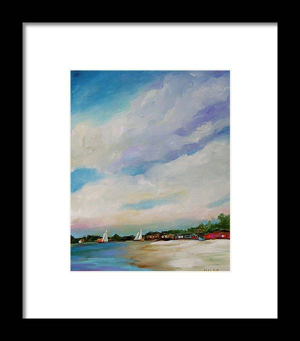 Lake Framed Print featuring the painting Lake House by Karen Fields