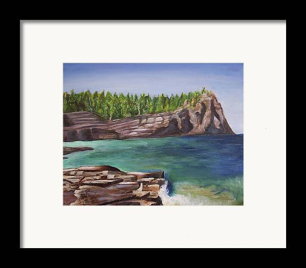 Seascape Framed Print featuring the painting Lake Huron by Silvia Philippsohn