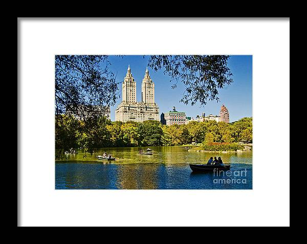 Central Park Framed Print featuring the photograph Lake In Central Park by Allan Einhorn