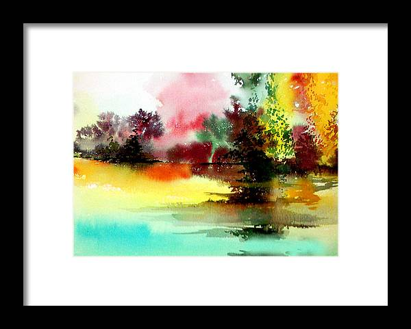 Nature Framed Print featuring the painting Lake In Colours by Anil Nene