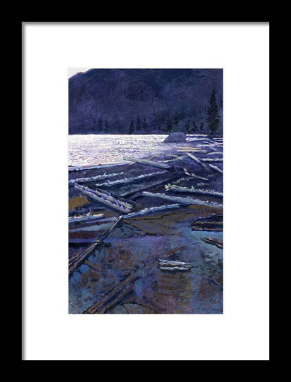Lake Framed Print featuring the painting Lake In Moonlight by Robert Bissett