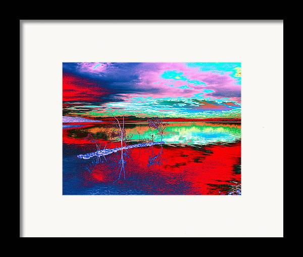 Sea Framed Print featuring the digital art Lake In Red by Helmut Rottler