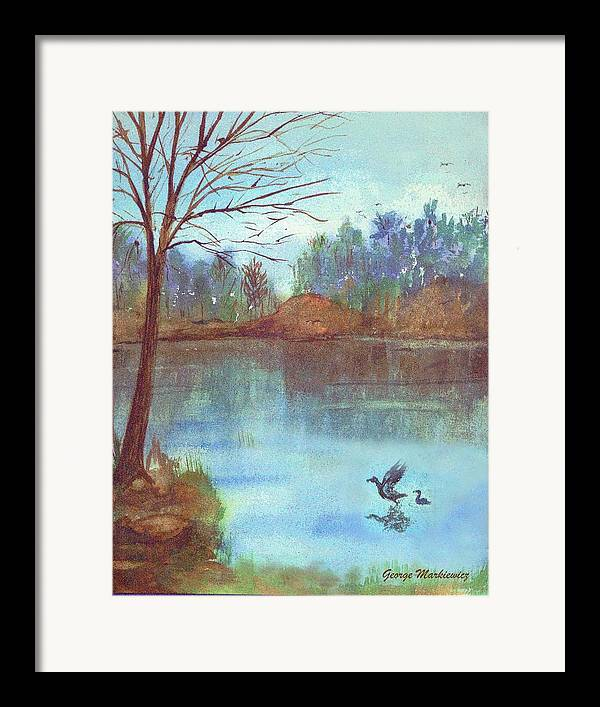 Lake And Ducks Framed Print featuring the print Lake In The Morning by George Markiewicz