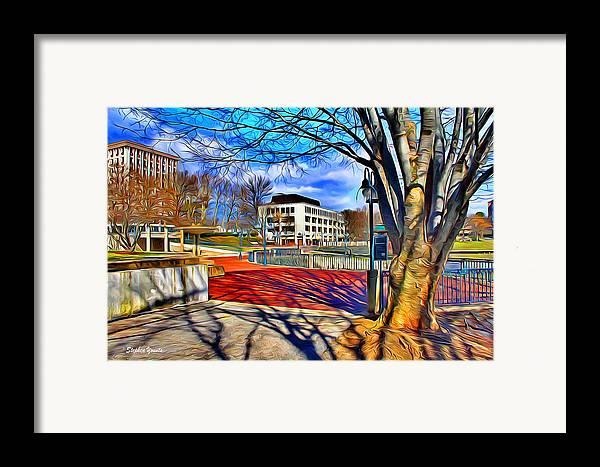 Howard County Framed Print featuring the digital art Lake Kittamaqundi Walkway by Stephen Younts