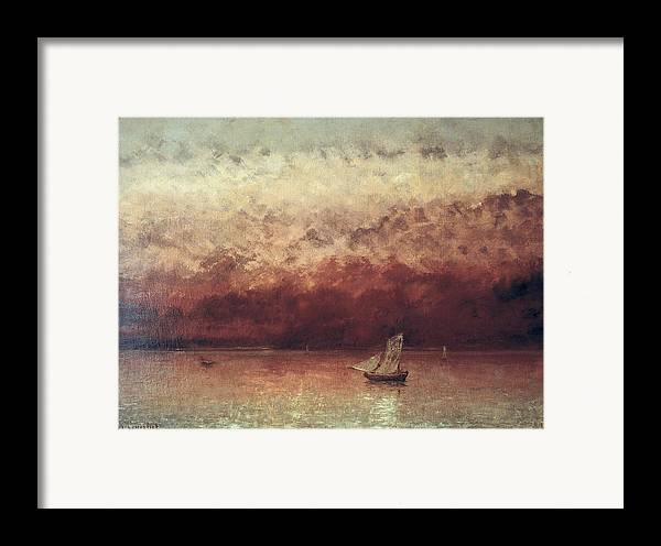 Lake Framed Print featuring the painting Lake Leman With Setting Sun by Gustave Courbet
