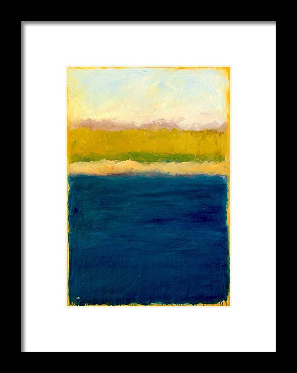 Dunes Framed Print featuring the painting Lake Michigan Beach Abstracted by Michelle Calkins