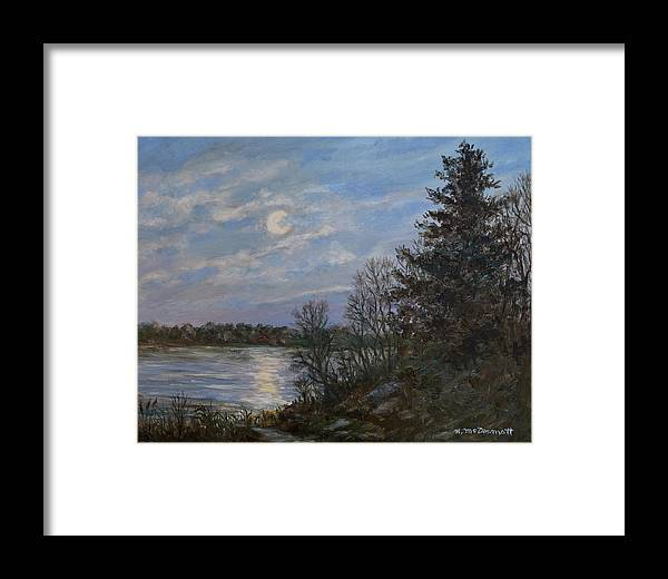 Moon Framed Print featuring the painting Lake Moonrise by Kathleen McDermott