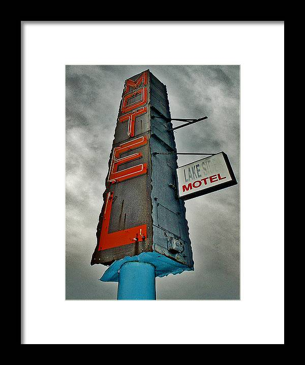 Color Framed Print featuring the photograph Lake Motel by Curtis Staiger