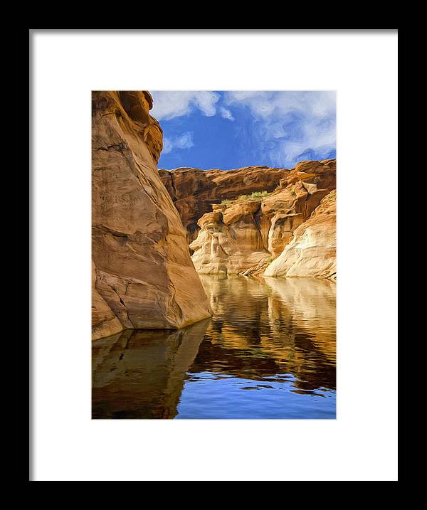 Morning Framed Print featuring the painting Lake Powell Stillness by Dominic Piperata