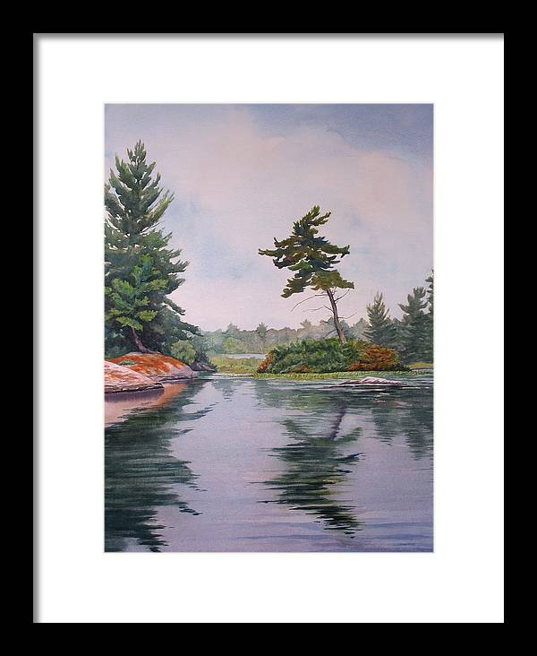 Lake Framed Print featuring the painting Lake Reflection by Debbie Homewood