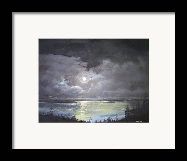 Moonscape Framed Print featuring the painting Lake Shore Moonscape by Ken Ahlering