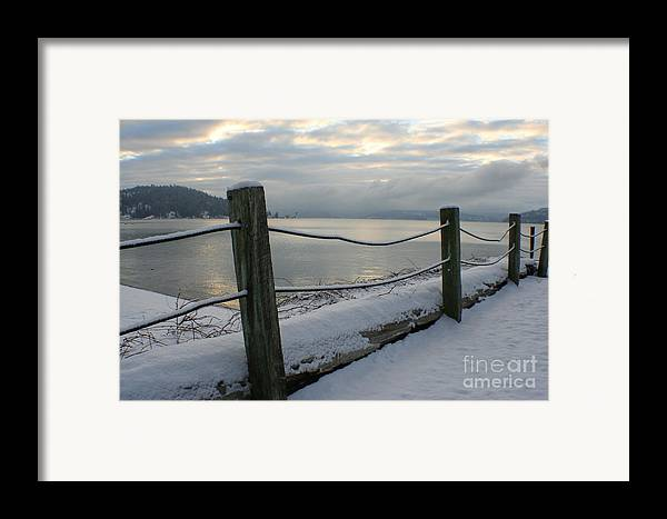 Fence Framed Print featuring the photograph Lake Snow by Idaho Scenic Images Linda Lantzy
