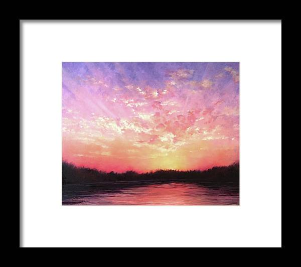 Landscape Framed Print featuring the painting Lake Sunset by Teri Rosario