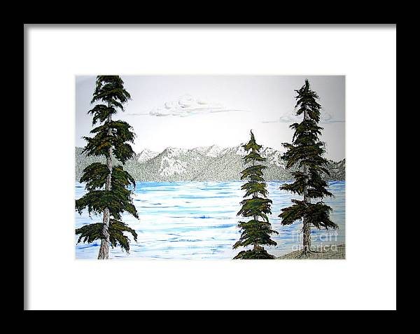 Lake Tahoe Framed Print featuring the mixed media Lake Tahoe In Summer by Ed Moore