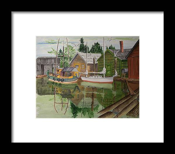 Landscape Framed Print featuring the painting lake Union Seattle by Robert Thomaston