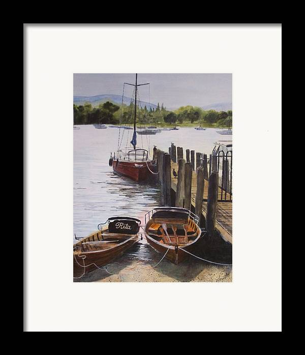 Boats Framed Print featuring the painting Lake Windermere by Victoria Heryet