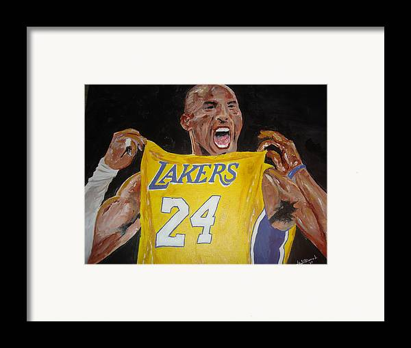 Kobe Bryant Framed Print featuring the painting Lakers 24 by Daryl Williams Jr