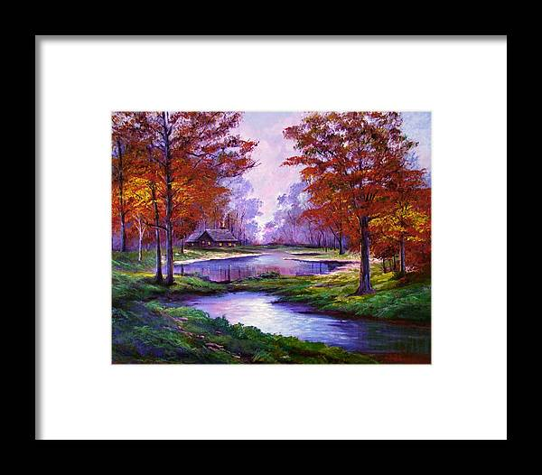 Autumn Framed Print featuring the painting Lakeside Cabin by David Lloyd Glover
