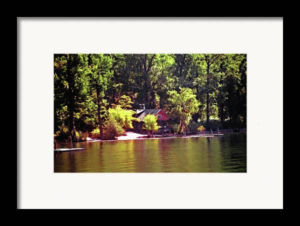 Cabin; Getaway; Retreat; Vacation; Relaxation; Recreation; Leisure; Peaceful; Solitude; Restful; Lakefront; Lakes; Lakeshore; Dock; Boat Dock; Water; Waterfront; Shore; Shoreline; Mountains; Trees; Pines; Woods; Forest; Pine Trees; Secluded; Isolated; Quiet; Cabin By The Lake; Mountain Lakes; Mountain Cabin; Architecture; Watercolor; Canvas; Texture; Digital Art; Artistic; Painterly; Soft Light; Pastoral; Serene; Tranquil; Calming; Relaxing; Peaceful; Nestled; Tucked Away; Alone; Paradise; Nature; Natural; Recreational; Idaho; Couer D Alene; Backwoods; Seclusion; Tranquility Framed Print featuring the photograph Lakeside Cabin In Idaho Usa by Steve Ohlsen