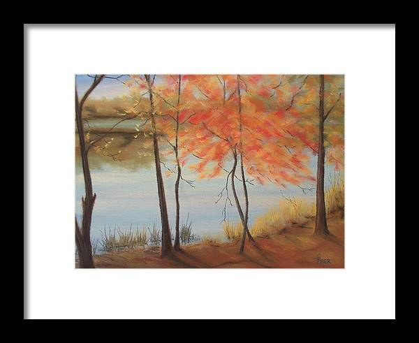 Fall Foliage Framed Print featuring the painting Lakeside Dancers IIII by Pete Maier