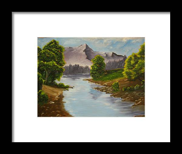 Lake Framed Print featuring the painting Lakeside by Ron Sargent
