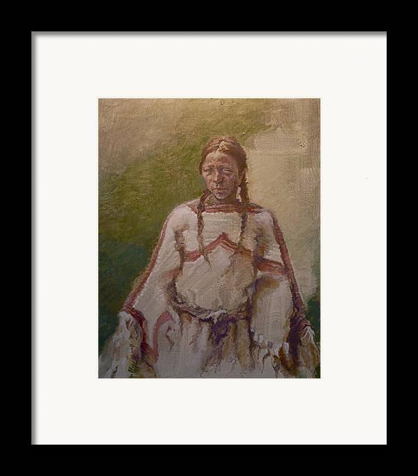 One Wnative American Framed Print featuring the painting Lakota Woman by Ellen Dreibelbis