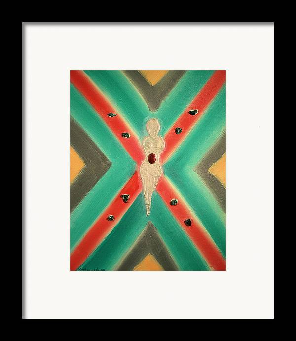 Abstract Framed Print featuring the mixed media Lakshmi Goddess Of Bright Futures by Emerald GreenForest