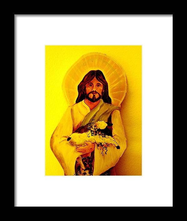 Jesus On Canvas Framed Print featuring the painting Lamb Of God by Carolyn Sylvester