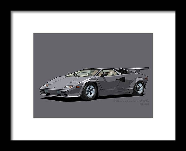 Lamborghini Countach 5000qv Canna Di Fucile Us Spec Framed Print By