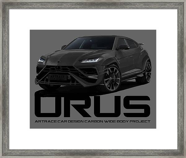 Lamborghini Urus Carbon Car Design Black Project Framed Print By