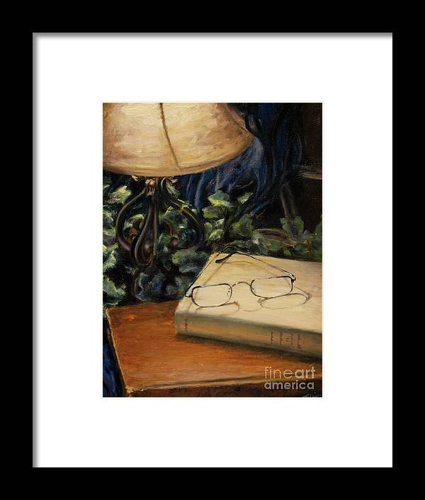 Reading Framed Print featuring the painting Lamp Light by Lori McCray