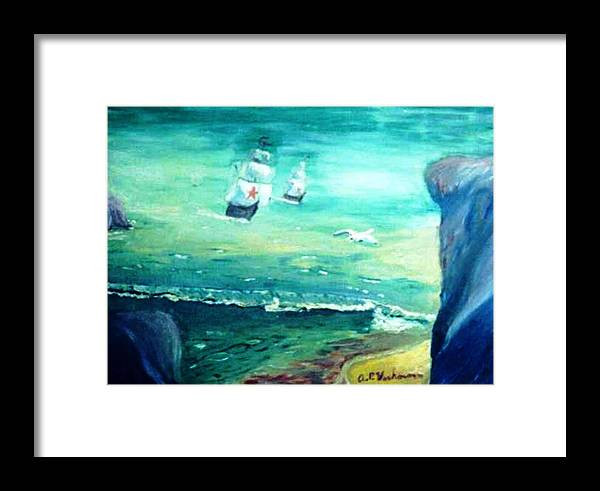 Fantasy Seascape Pre Columbus Nordic Explorers Framed Print featuring the painting Land Ahoy by Alfred P Verhoeven