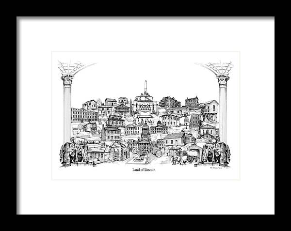 City Drawing Framed Print featuring the drawing Land Of Lincoln by Dennis Bivens