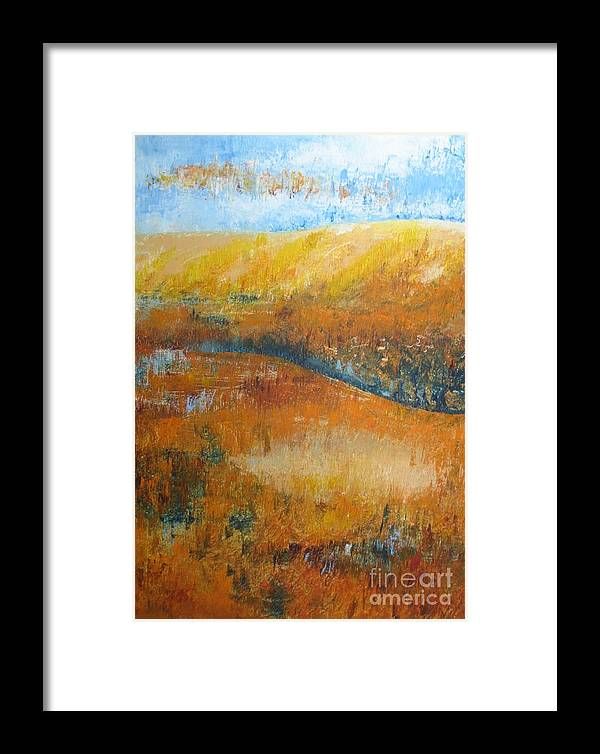 Landscape Framed Print featuring the painting Land Of Richness by Stella Velka