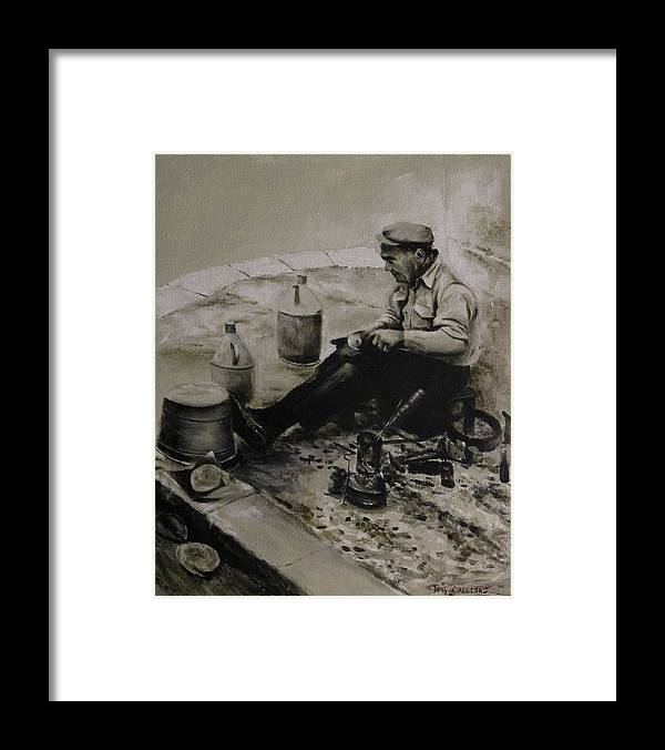 Landier At Work. Tinsmith Working. Tinsmith Repairing. Framed Print featuring the painting Landier. Tinsmith. by Tony Calleja