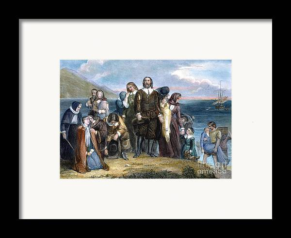 1620 Framed Print featuring the photograph Landing Of Pilgrims, 1620 by Granger
