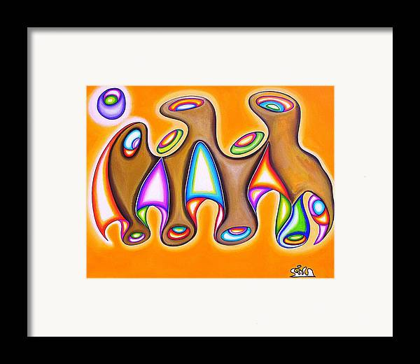 Fantasy Framed Print featuring the painting Landmass Of Orifices In Space by      Gillustrator